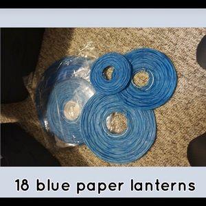 Blue paper lanterns pop up crepe